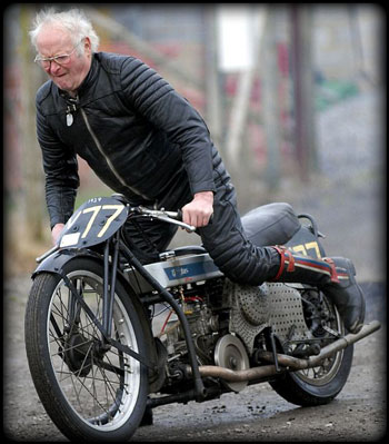 Old motorcycle rider