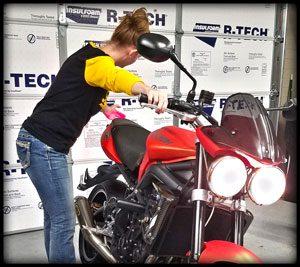 Kelly Checking Brake Light Operation on her Triumph Street Triple